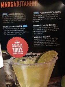 Margarita Menu, Dave and Buster's, St. Louis, MO